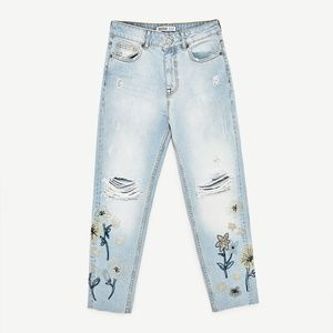 Zara HIGH RISE JEANS WITH EMBROIDERIES-5862/057